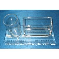 China Table Top Clear Acrylic Staionery Plexiglass Card Holder With Pen Holder wholesale