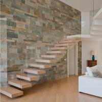 China House Red Oak Tread Stairs Floating Cantilevered Staircase with Frameless Tempered Glass Railing wholesale