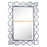 China Factory Direct Price Metal Geometric Drawing Decorated Rectangle Living Room Wall Mirror wholesale