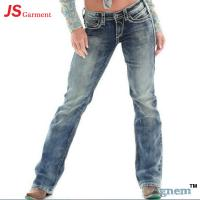 China Low Waist Washed Printed Jeans For Womens Elastic Straight Dark Blue Jeans Womens wholesale