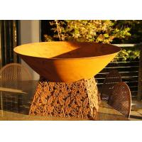 China Contemporary Design Corten Steel Fire Pit Bowl With Leaf Stand Rusty Finish wholesale