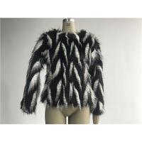 China Black / White Short Ladies Fake Fur Coats Round Neckline With 3/4 Sleeve TWS014553 wholesale