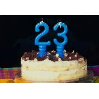 China Pure Blue Color Mini Number Birthday Candles With Spiral Candle Holder wholesale