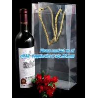 China Handle Wine Bottle Paper Bags With Two Side Logo,transparent wine gift pp bag, plastic bag with handles bagplastics pac wholesale