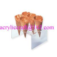 China 6 holes acrylic waffle cone tray, transparent acrylic ice cream cone holder wholesale