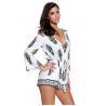 China 100 Viscose Ladies Summer Playsuits , Drawstrings Waist Long Sleeve Short Maxi Dress wholesale