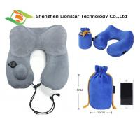 China Airplane Sleeping Inflatable Travel Pillow With High Grade Crystal Velvet Fabric Material wholesale