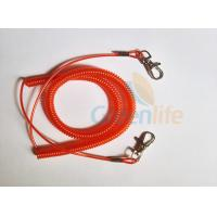 China Promotional Spiral Retractable Fishing Lanyard , Red Coiled Security Tethers wholesale