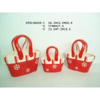 China Decorative Ceramic Flower Pots Bag Shaped Xmas With Handle 20.3 X 10.5 X 20.8 Cm wholesale