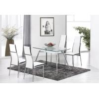 Quality chromed-plated/tempered glass dining table T058 for sale