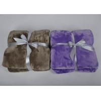 Quality Brown Grey Black Heavy super soft fleece blankets throws with 1cm knitted fabric binding for sale