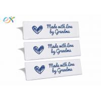 China Sewing Garment Fabric Material Woven Clothing Labels Embroidered Blue On White wholesale