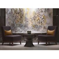 China Leisure Purple Fabric Modern Lobby Furniture , Lobby Wooden Easy Chair wholesale