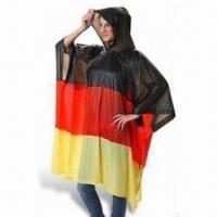 China PVC Waterproof Poncho with Logo, Measures 50 x 80 Inches wholesale