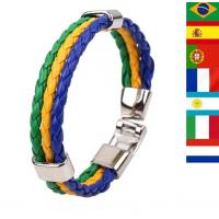 Quality 2014 Brazil World Cup Commemorative Edition hand woven leather bracelets for sale