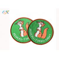 China Cute Cartoon Style Custom Woven Patches Merrow Border With Paper Coated wholesale