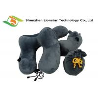 China Hump Design Inflatable Travel Pillow With Ear Plugs And Drawstring Bag wholesale