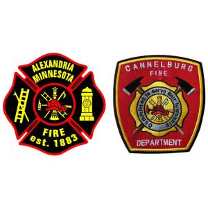 China OEM Design Shaped Twill 4in Fire Station Patches Iron On Badges wholesale
