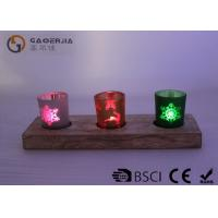 China glass candle holder with laser picture with wooden base and LED tealight wholesale