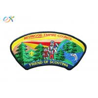 China Twill Background Fabric Boy Scout Uniform Patches 100% Embroidery With Merrowed Border wholesale