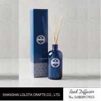 China transparent blue color reed diffuser with natural stick and pattern folding box wholesale