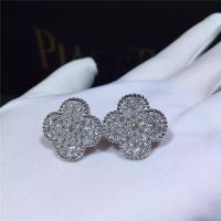 China Van Cleef Arpels Magic Alhambra earrings 18k white gold and round diamonds wholesale