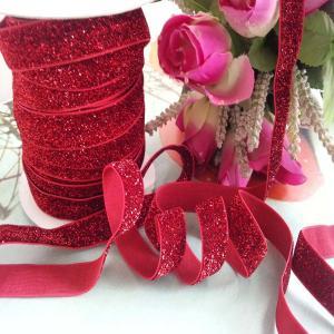 China Glitter Elastic Ribbon DIY Single Face Gift Packing Lace Ribbon wholesale