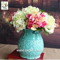 China UVG FHY24 wedding decoration materials cheap artificial hydrangea flower for indoor use wholesale