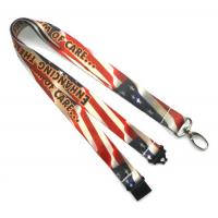 Quality Breakaway Heat Transfer Print Lanyard With Egg Hook , Amercian Flag Lanyards for sale
