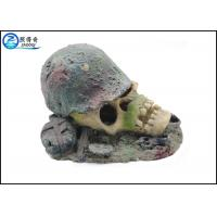 Quality Air Operated Skull Fish Tank Ornaments , Aqua Resin Ornaments For Decorating for sale