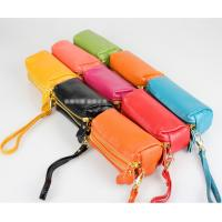 Quality 091104 Double Zipper Leather bag Phone Pouch Genuine Leather Wallet Coin Wallet in different colors for sale