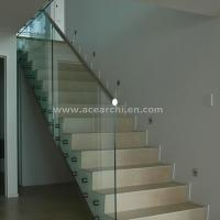 China Indoor Standoff Glass Railing Stainless Steel Staircase Railing Price India wholesale