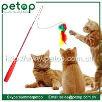 Quality 2015 Christmas feather cat teaser stick toy with plastic pole for sale