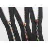 China Multi Color Rainbow Teeth Zipper , Corn Type Teeth Brass Zipper By The Yard wholesale