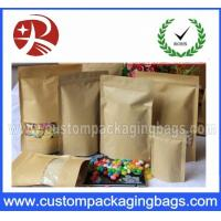Quality Zipper lock Stand up Pouches Kraft Paper Tear Notch for supermarket for sale