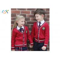 China Red Sweater Winter School Uniform , Long Sleeve School Uniform Set For Kids wholesale