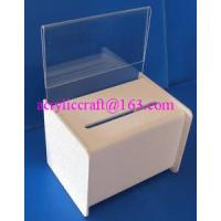 China Acrylic PMMA Donation Box Collection Box Suggestion Box With Sign Holder wholesale