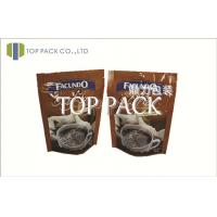 Quality Brown 80 - 200micron Printed Coffee Bags PET / AL / PE With Zipper for sale