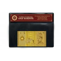 Quality Gorgeous Note Malaysia 1 Ringgit 24k Gold Banknote With Plastic Holder for sale