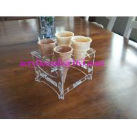 China Detachable Engraved Acrylic 4 Waffle or Cones Holder, 4 slot Ice Cream Cone Display Stand wholesale
