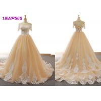 China Nude Tulle Multi Colored Wedding Gowns With 3/4 Sleeve Sexy Vintage Appliques wholesale