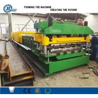 China 18 Stands Color Coated Steel Step Roof Panel Roll Forming Machine For Building wholesale