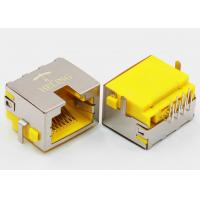 China Right Angle 8P8C RJ45 Female PCB Connector Tab Up Yellow Housing Sinking wholesale
