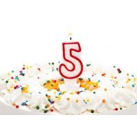 Buy cheap Birthday Candle Number 5 With Red Color Edge , Lovely Candles For Cake from wholesalers