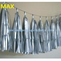 Quality silver printed color tassel garland, decorative tissue paper tassel string for sale