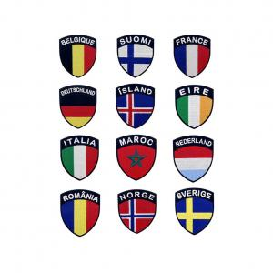 China Heat Cutting 3D Embroidered Country Flag Patches 7.5x5cm wholesale
