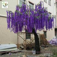 China UVG latest 17ft tall purple silk wisteria blossoms artificial flower trees for wedding stage decoration WIS018 wholesale