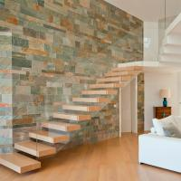 China Frameless Glass Railing Timber Steps Build Floating Staircase wholesale
