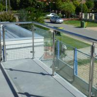 China Exterior Stainless Steel Frameless Glass Frosted Deck Railing / Glass Deck Post wholesale