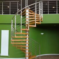 China Internal Spiral Staircase Design For Timber Stair Steps Stainless Steel Railings / Steel Wood Spiral Stair wholesale